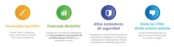 Características: CFDI personalizado, Timbrado Multipac, Altos estándares de seguridad y más